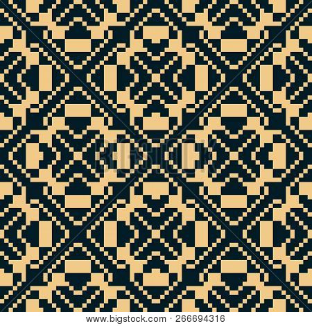 Vector Geometric Traditional Folk Ornament. Golden Seamless Pattern. Ornamental Background With Smal