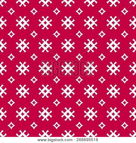 Vector Seamless Pattern. Traditional Scandinavian Motif. Elegant Christmas Background. Red And White
