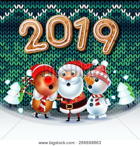 2019 Merry Christmas & New Year Poster. Santa Claus Snowman, And Symbol Of 2019 Year Pig Sing A Chri