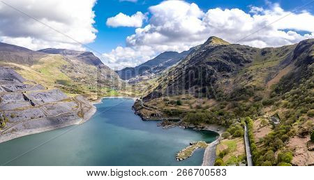 Aerial View Of The Snowdonia National Park Close To The Historic Dolbadarn Castle In Llanberis, Snow