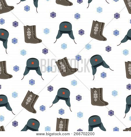 Felt Boot And Warm Hat Red Star Of Communist Party Seamless Pattern. Snowflakes Winter Season Clothi