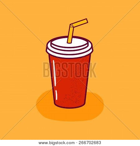 Vector Illustration With Cartoon Non-alcoholic Cocktail, Soda Or Smoothie Icon. Carton Cup With Cart