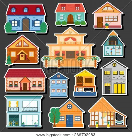 Vector Cartoon Illustration With Set Of Isolated Country Or Beach Or Travel Vacation Houses. Rent, S