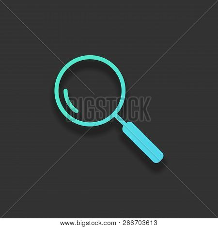 Loupe, Search Or Magnifying. Linear Icon, Thin Outline. Colorful Logo Concept With Soft Shadow On Da