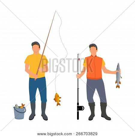 People Catching Fish Together. Men Hobby Of Fishing Person Holding Limbless Cold-blooded Animal Wear