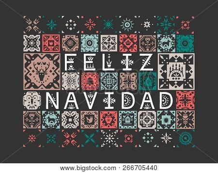Vector greeting card with lettering Feliz Navidad (Merry Christmas, Spanish) with patterns on a black background. poster