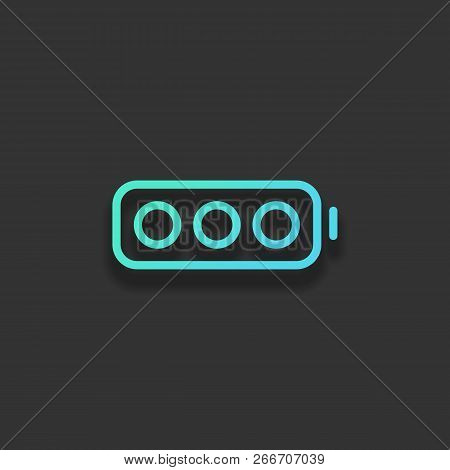 Simple Empty Battery, None Level. Colorful Logo Concept With Soft Shadow On Dark Background. Icon Co