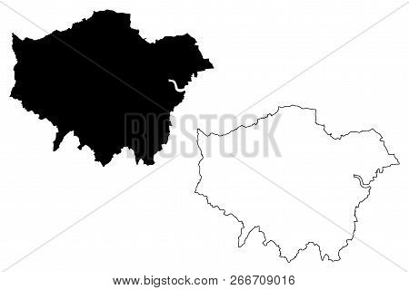 Greater London (united Kingdom, England) Map Vector Illustration, Scribble Sketch London Region Map