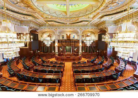 Springfield, Illinois, Usa - July 11, 2018 - Interior Of The Senate Chamber Of The Illinois State Ca