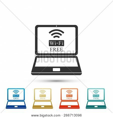 Laptop And Free Wi-fi Wireless Connection Icon Isolated On White Background. Wireless Technology, Wi