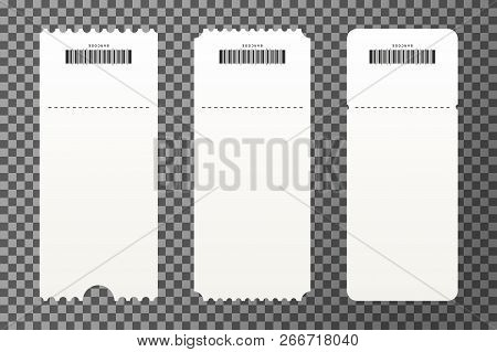 Set Of Empty Ticket Templates Isolated On Transparent Background. Blank Tickets Mockup For Entrance