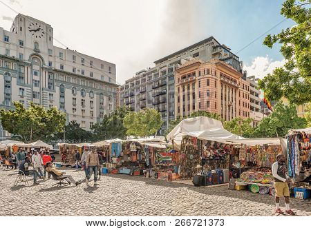 Cape Town, South Africa, August 17, 2018: A View Of Greenmarket Square In Cape Town In The Western C