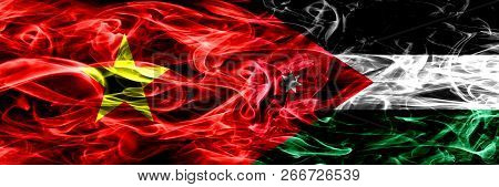 Socialist Republic Of Viet Nam Vs Jordan, Jordanian Smoke Flags Placed Side By Side. Thick Colored S