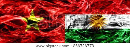 Socialist Republic Of Viet Nam Vs Kurdistan, Kurdish Smoke Flags Placed Side By Side. Thick Colored