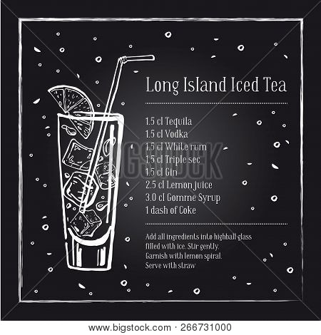 Long Island Ice Tea Cocktail Recipe Description With Ingredients. Vector Sketch Outline Hand Drawn I