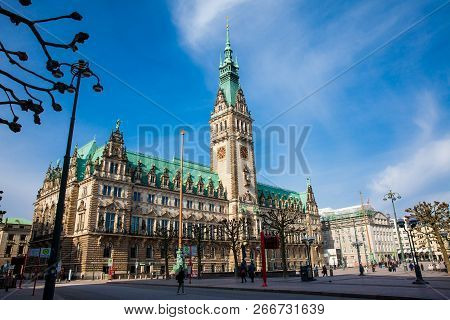 Hamburg, Germany - March, 2018: Hamburg City Hall Buildiing Located In The Altstadt Quarter In The C