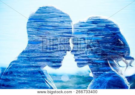Man And Woman Love And Hugs, Close Relationship And Love, Perfect Couple Double Exposure Photo. Coup