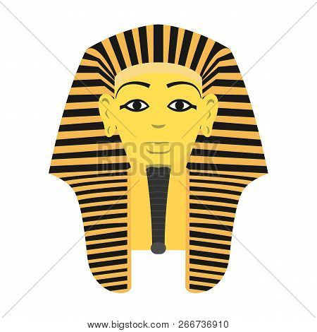 Egyptian Golden Pharaohs Mask Icon Flat Isolated On White Background. Vector Stock.