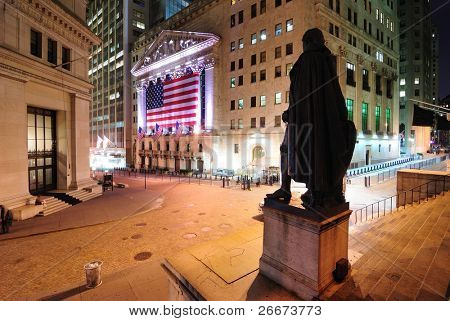 NEW YORK CITY - JULY 16: The intersection of Broad Street and Wall Street showing the George Washington Statue and New York Stock Exchange July 16, 2010 in New York, New York.
