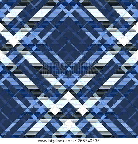 Nautical Plaid Pattern In Dark Navy, Blue And White. Seamless Fabric Texture.