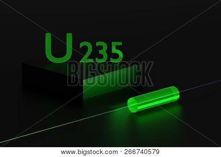 Concept illustration of fluorescence properties of uranium isotope u 235. Uranium cylinder glowing in the dark. 3d illustration. poster