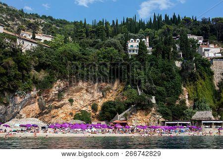 Dubrovnik, Croatia, July 31, 2018: Sveti Jakov Beach, One Of The Most Beautiful Beaches In Dubrovnik