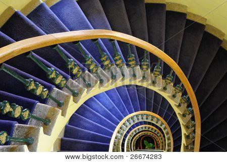Downward spiraling staircase.