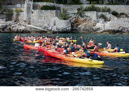 Dubrovnik, Croatia, July 31, 2018: Kayaking Is Very Popular Among The Tourists Visiting Dubrovnik.