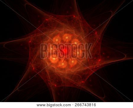 An Abstract Computer Generated Modern Fractal Design On Dark Background. Abstract Fractal Color Text