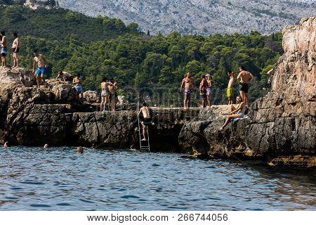 Dubrovnik, Croatia, July 31, 2018: Lokrum Island In The Adriatic Sea, Near The City Of Dubrovnik, Cr
