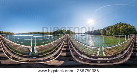 Full Spherical Seamless Panorama 360 Degrees Angle View On Steel Frame Construction Of Huge Train Ra