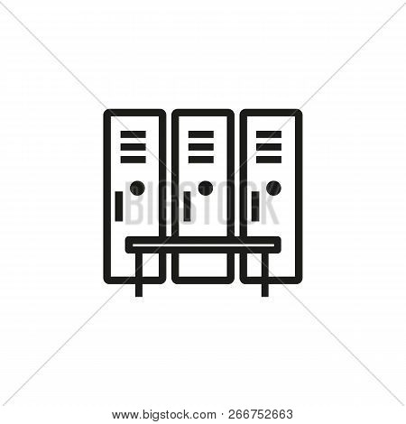 Gym Lockers Line Icon. Compartment, Bench, Dressing. Safety Concept. Can Be Used For Topics Like Sto