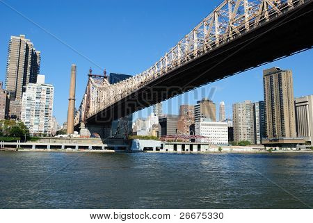 Skyline of midtown Manhattan with the Queensboro Bridge from across the East River.