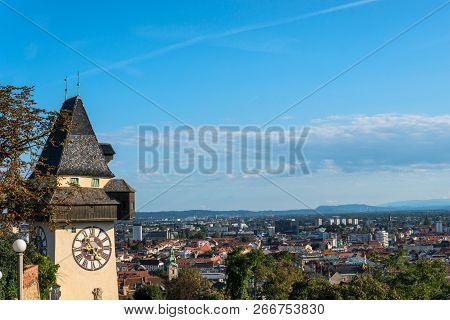 Graz, Austria. The Schlossberg - Castle Hill With The Clock Tower Uhrturm