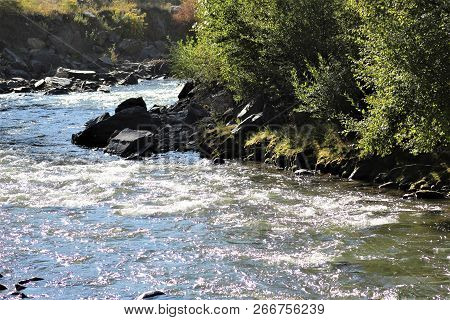 Sunlight Catches The Green Mossy Bank On The Far Side Of This Fast Moving Creek In A Canyon In Color