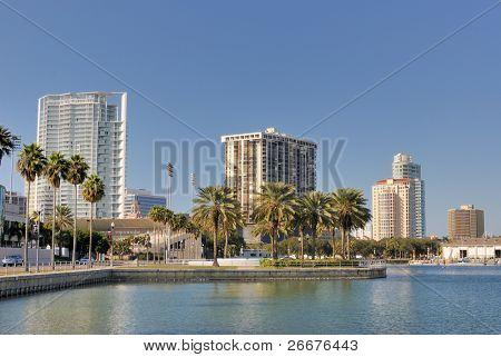 Coast and skyline of St. Petersburg, Florida.