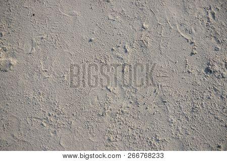 White Sand Beach Texture. Seaside Top View Photo. Dense Sea Sand Natural Texture. Smooth Sand Surfac