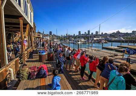 San Francisco, California, United States - August 14, 2016: Tourists At San Francisco Pier 39, Popul