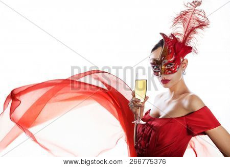 Woman in red carnival dress on white. Holiday theme. Space for text.