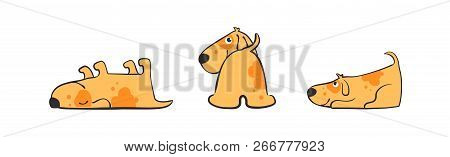 Set Of Illustrations Of Playful Puppy In Various Poses. Isolated Funny Dog Daily Routine, Cute Littl
