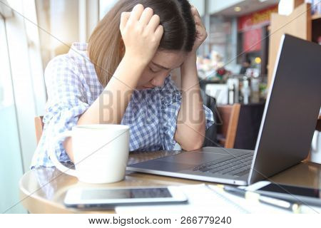 Young Woman Stressful, Headache Migraine, Hand Touch Head Feeling Pain. Asian Girl Stressed And Tire