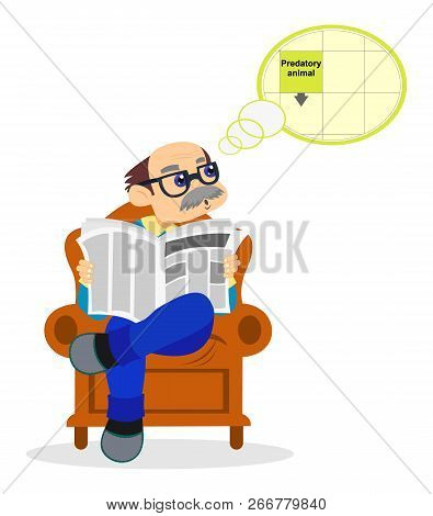 Grandfather. Cute Cartoon Grandpa Is Sitting In A Chair And Doing A Crossword Puzzle. Vector Stock I