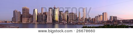 Panorama of downtown Manhattan viewed from Brooklyn Heights in New York City.