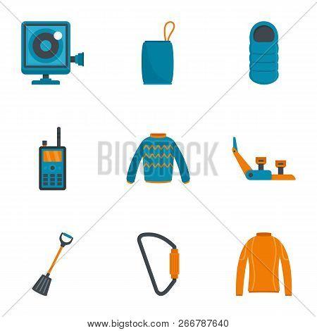 Travel Hiking Icon Set. Flat Set Of 9 Travel Hiking Icons For Web Design