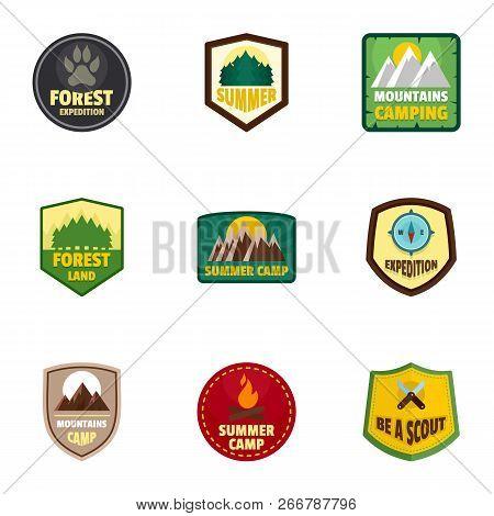 Camp Expedition Logo Emblem Set. Flat Set Of 9 Camp Expedition Logo Emblem For Web Design