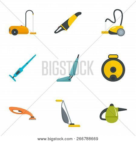 Carpet sweeper icon set. Flat set of 9 carpet sweeper icons for web design poster