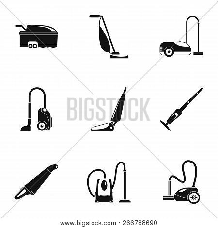 Carpet sweeper icon set. Simple set of 9 carpet sweeper icons for web design on white background poster