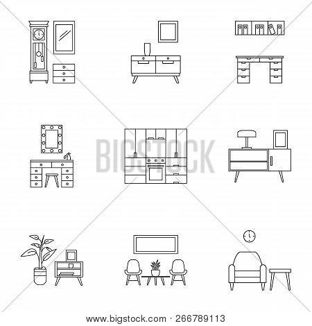 Modern Home Furniture Icon Set. Outline Set Of 9 Modern Home Furniture Icons For Web Design Isolated
