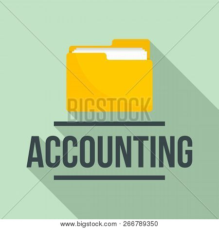 Accounting Folder Logo. Flat Illustration Of Accounting Folder Logo For Web Design