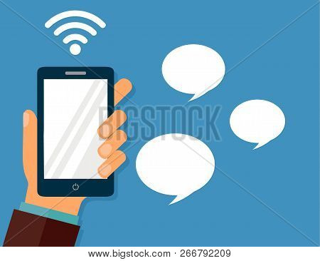 Hand Holding Smartphone. Chat, Mobile Messenger Concept. Vector Stock Illustration In Flat Style.